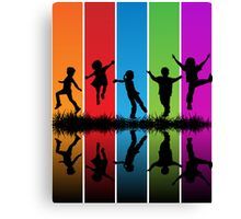 kIDS AND RAINBOW Canvas Print