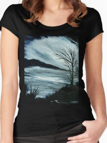 Black and White Landscape Women's Fitted Scoop T-Shirt