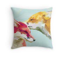 Fox Kiss Throw Pillow