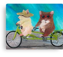 Tandem Hammies; a Tiny Bike Built for Two Canvas Print