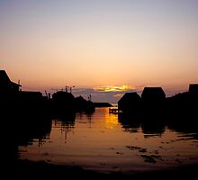 Sunset over Fishing Village by imaginIt