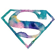 Watercolor Superman (white)  by PeonyPaints