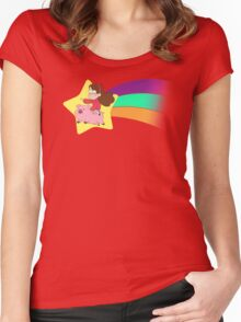 Mabel & Waddles Shooting Star Women's Fitted Scoop T-Shirt