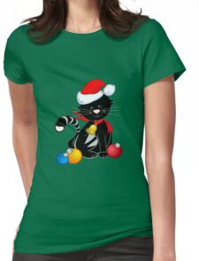 Cute Christmas Cat Womens Fitted T-Shirt