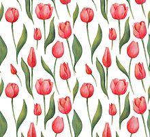 Watercolor Tulips Pattern by epine