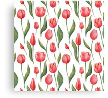 Watercolor Tulips Pattern Canvas Print