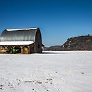 Barn in snow by Cara Merino