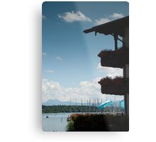 Balconies on Blue Metal Print