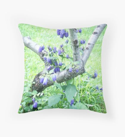 blue bells with white birch Throw Pillow