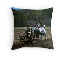 draft horses at work Throw Pillow