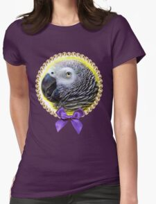 African grey parrot realistic painting Womens Fitted T-Shirt