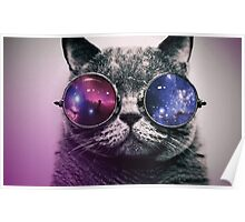 Galaxy Glasses Cat Poster