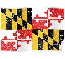 Maryland Flag Distressed Poster