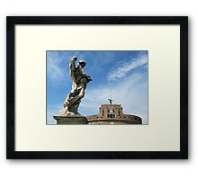 Angel with thorn crown and Castel Sant' Angelo, Rome, Italy Framed Print