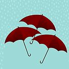 Three Red Umbrellas by nealcampbell