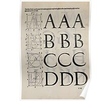 Measurement With Compass Line Leveling Albrecht Dürer or Durer 1525 0131 Alphabet Letters Calligraphy Font Poster