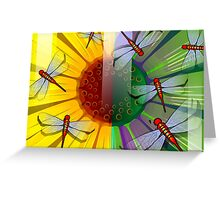 Beauty of the sunflower covered by the dragon flies Greeting Card