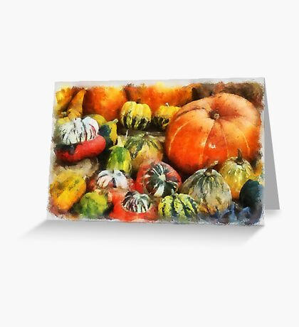 A variety of Pumpkins in watercolour Greeting Card