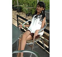 little girl sit down on chair Photographic Print