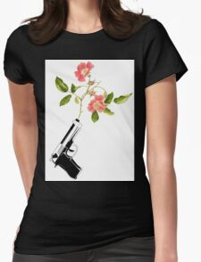 Shoot Flowers, Not Bullets  Womens Fitted T-Shirt