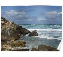 Canunda rough seas on broken rocks Poster