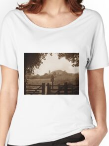 Glastonbury Tor in sepia Women's Relaxed Fit T-Shirt
