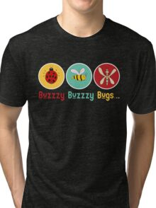 Buzzzy Bugs with Ladybug, Bee and Dragonfly Tri-blend T-Shirt