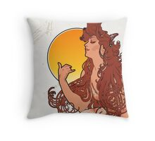 Alphonse Mucha Art Nouveau Vintage Design Throw Pillow