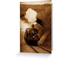 Steam train going under bridge, Shepton Mallet, Somerset, UK Greeting Card
