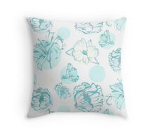 Flora Pop- Green  Throw Pillow