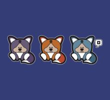 Kawaii Foxes by thickblackoutline