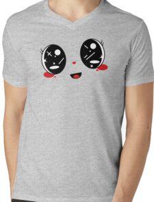 cute Kawaii face Belly band Mens V-Neck T-Shirt
