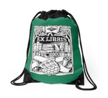 Ex Libris with Library and Shield Drawstring Bag