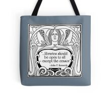 JFK Quote About Libraries Tote Bag