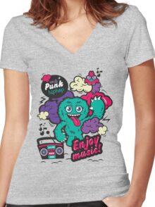 LOVE MUSIC Women's Fitted V-Neck T-Shirt