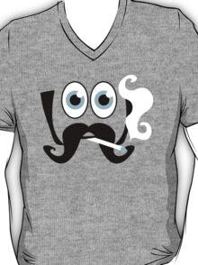 face big eyes and huge moustache smoking Baseball T-Shirt
