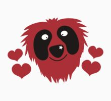 funny red grover like monster with love hearts Kids Clothes