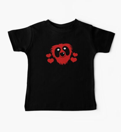 funny red grover like monster with love hearts Baby Tee