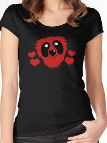 funny red grover like monster with love hearts Women's Fitted Scoop T-Shirt