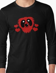 funny red grover like monster with love hearts Long Sleeve T-Shirt
