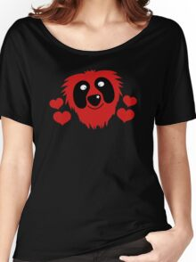 funny red grover like monster with love hearts Women's Relaxed Fit T-Shirt