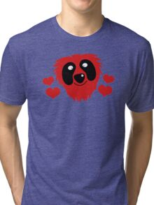 funny red grover like monster with love hearts Tri-blend T-Shirt