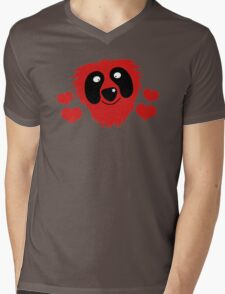 funny red grover like monster with love hearts Mens V-Neck T-Shirt