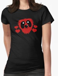 funny red grover like monster with love hearts Womens Fitted T-Shirt
