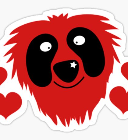 funny red grover like monster with love hearts Sticker