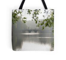 Pedestrians on the bridge Tote Bag