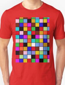 Checkerboard Color Blocks Abstract Pattern T-Shirt