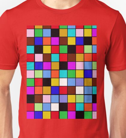 Checkerboard Color Blocks Abstract Pattern Unisex T-Shirt