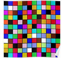Checkerboard Color Blocks Abstract Pattern Poster