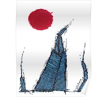 Buildings and Red Sun-5 By VERNON SULLIVAN Poster